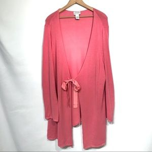 Soft Surroundings Front Tie Coral Cardigan